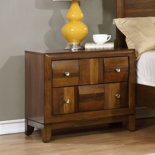 Roundhill Furniture Calais Solid Wood Construction Nightstand King Walnut