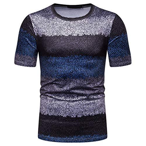 YAYUMI Summer Short Sleeve Shirt Top Blouse Fashion Men's Casual Slim Strip Patchwork Blue ()