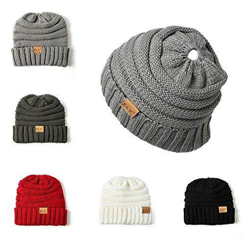 Bonnet plein air queue en tricot Noir de Bonnet chapeau en tricot chaud cheval roul rxrqIT