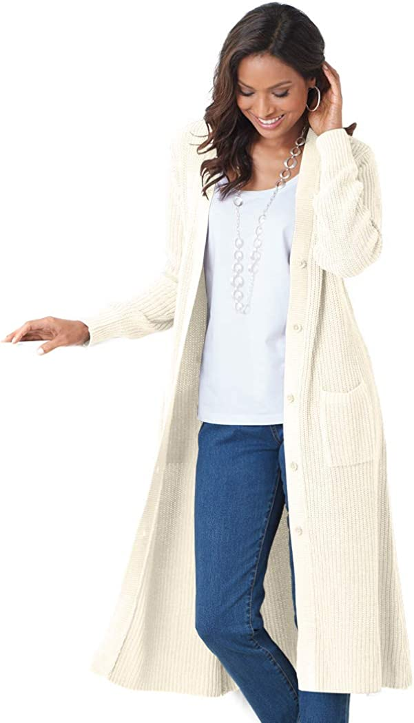 AmeriMark Womens Long Cardigan Coat Jacket Button Front Patch Pockets Maxi Length