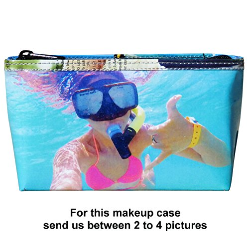 LARGE custom makeup case with your pictures printed on it - FREE SHIPPING - gift gifts for mom girlfriend mother customized cosmetic cosmetics organizer wallet handbags personalized bag mother's day