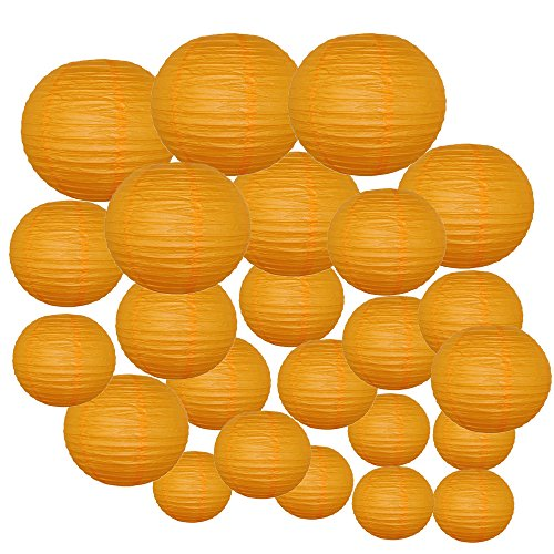 Just-Artifacts-Decorative-Round-Chinese-Paper-Lanterns-24pcs-Assorted-Sizes-Color-Orange