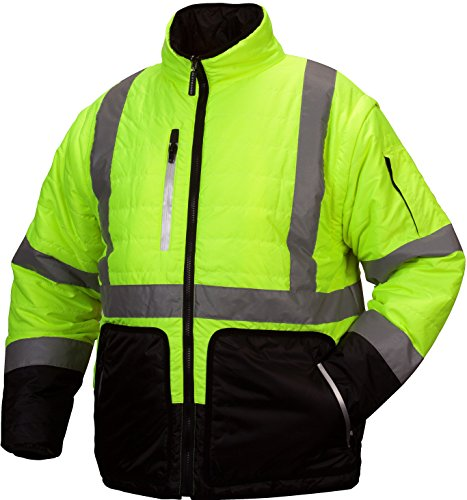 (Pyramex RJR3310L Rjr33 Class 3 Hi-Vis Lime 4-in-1 Quilted Reversible Jacket, Large)