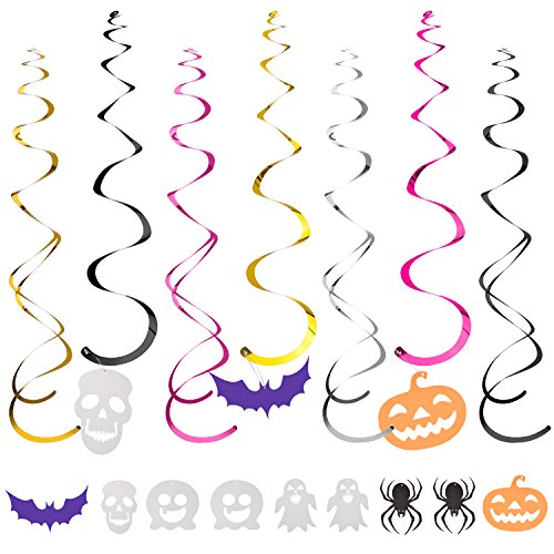 Ghosts & Spiders Swirl Decorations (Frienda 36 Pieces Hanging Swirl Decoration Scary Theme Ceiling Decorations Bats Spider Skull Swirl Ghost Hanging Cards for Halloween)