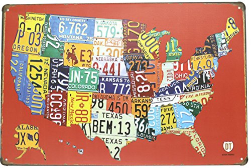 Red USA Map Road 66 License Plate Metal Tin Sign, Vintage Plaque Poster Garage Bar Home Wall Decor, 8x12 inch