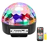 Stage Lights,SOLMORE 9 Color LED DJ Disco Lights Party Lights Rotating Magic Ball Lights Sound Activated Strobe Effect Light with Remote Control MP3 Play for Wedding Birthday Party Club Pub Show