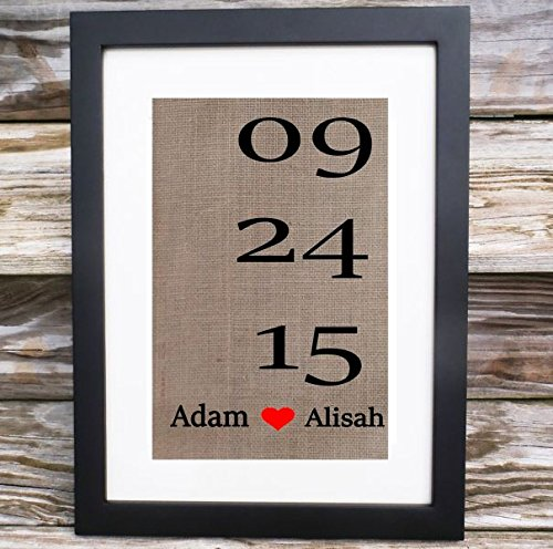 Linen Anniversary Gift, Fabric Print, Cotton, Burlap, Personalized, Wedding Date, Names and Date, Unique, Country Home Decor, 4 years
