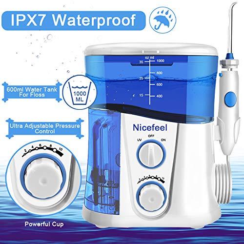 Nicefeel Upgrade UV Sterilize Water Flosser, Quiet Design 1000ml High-Volume 10 Adjustable Presure Countertop Denten Oral Irrigator with 7 Multifunctional Tips for Family FDA Approved