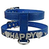 Kuntrona Personalized Dog Harness DIY Pet Name Snake Skin PU Leather S M L Price Free Name Free Charm Blue S