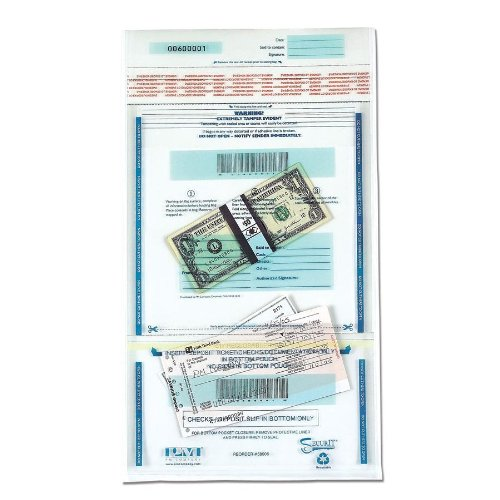 PM Company SecurIT Tamper Evident Plastic Dual Deposit Bags, Clear with Printed Content Area, 11 x 15 Inches, 100 Cartons (58008)