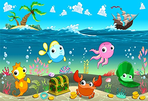 Baocicco 9x6ft Treasure Hunting Backdrop Clown Fishes Seaweeds Coral Reef Treasure Chest Golden Coins Island Sailboat Photography Background Marine Theme Birthday Party for Boys Baby Boys Photo