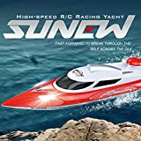 RC Boat High Speed Speedboat RC 4CH 2.4G Racing 22mph Rowing 18.5x4.7x5.3inch Control Distance 200M Outdoor Adults Student Toys Gift Swimming Pool River Lake (Red)