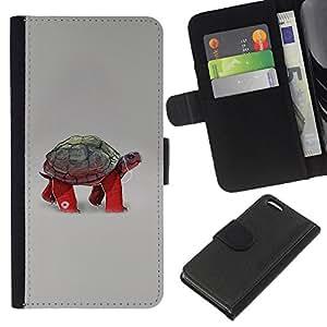 KingStore / Leather Etui en cuir / Apple Iphone 5C / Tortuga divertida tortuga