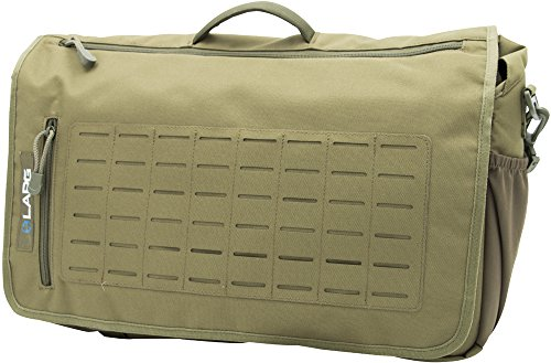 (LA Police Gear Covert MOLLE Tough 600D PVC Coated Polyester Messenger Bag Green)