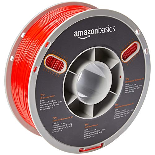 AmazonBasics TPU 3D Printer Filament, 1.75mm, Red, 1 kg Spool