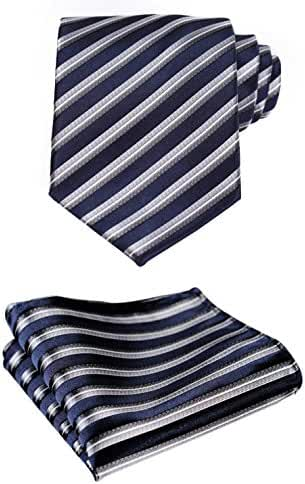 HISDERN Extra Long Polka Dots Tie Handkerchief Men's Necktie & Pocket Square Set