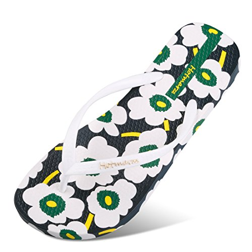 Hotmarzz Flower Pool Print Cream Women 37 's CN M Strap B Flops Ice 38 Flip US Shoes Beach EU Red Size Pantuflas Summer 6 White BnxrB0qY