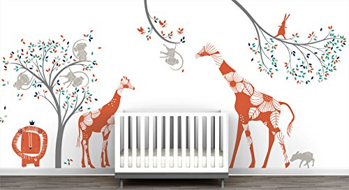 Baby Jungle Extra Large Mural Wall Decal Big Giraffes Fun Monkeys Tree Adorable Lion Little Birds Cute Bunny Curious Fawn by LittleLion Studio