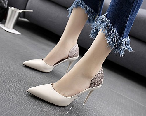 Pattern Elegant Shoes Spring Work Shoes 39 Stitching 5Cm With Snakeskin 10 Leisure Heels MDRW High Beige A Lady Fine Fashion fOqIE5xawn