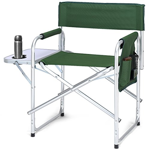 Giantex Camping Directors Chair Folding Lightweight Aluminum Frame Breathable Oxford Fabric Outdoor Lawn Camp Fishing Portable Deck Chair W/Cup Holder Side Table Storage Bag (Green)