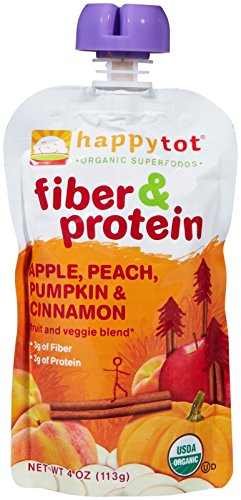 Happy Family happy tot Fiber & Protein - Apple Peach Pumpkin & Cinnamon - 4 oz - 8 pk