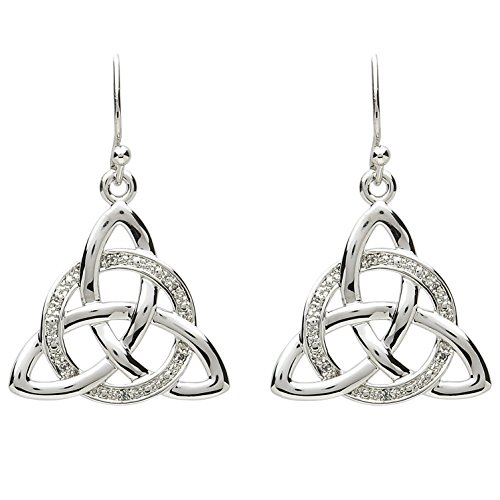 Platinum Plated Celtic Trinity Knot Earrings within a Round Crystal Ring