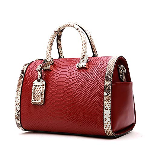 - Mn&Sue Trendy Women's Crocodile Cobra Pattern Top Handle Purse Cross Body Boston Doctor Handbag (Wine Red)