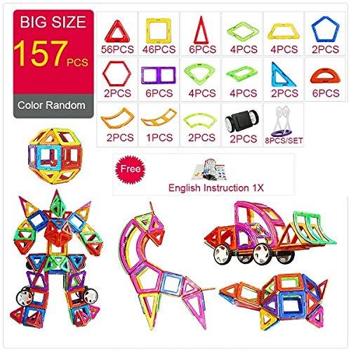 PPH3 Shine Magnetic Designer Construction & Building Toys 44-157PCS Big Size Magnetic Blocks DIY Magnets Building Blocks Toys Gifts (126Pcs) by PPH3 Shine (Image #3)