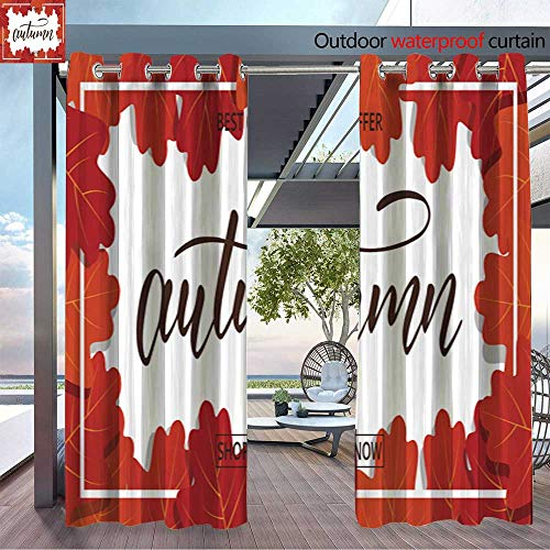 BlountDecor Balcony Curtains Autumn Sale Banner Background with Oak Leaves Frame and Trendy Autumn Brush Lett Outdoor Patio Curtains Waterproof with Grommets W72 x L96/Pair