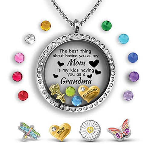 (A Touch of Dazzle Mother Daughter Necklace Floating Charm Locket | Pendant Necklace for Grandma)