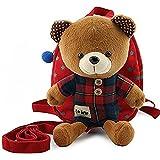 Bobear 迷子防止ひも リード付き ベビー リュック クマ ぬいぐるみ ( 1-6歳子供リュックサック ベビーギフトや贈り物) (レッド)