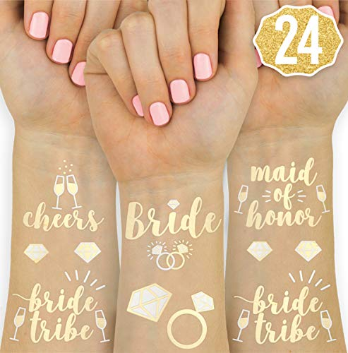 xo, Fetti Bachelorette Party Flash Tattoos - Bride Tribe, Maid of Honor - 24 Styles - Bridal Shower Favor and ()