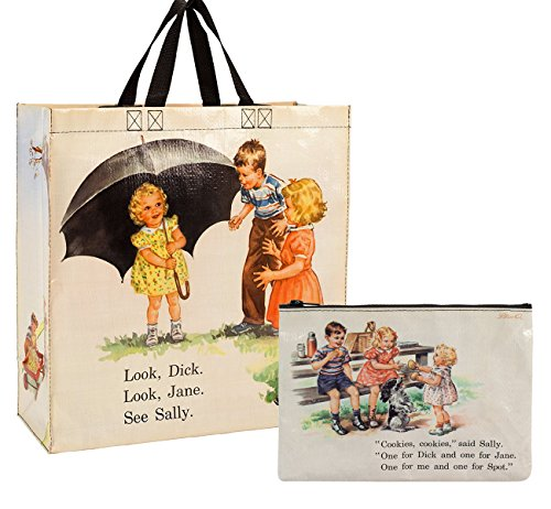 Blue Q Shopper Bag with Zipper Pouch (Dick and Jane)