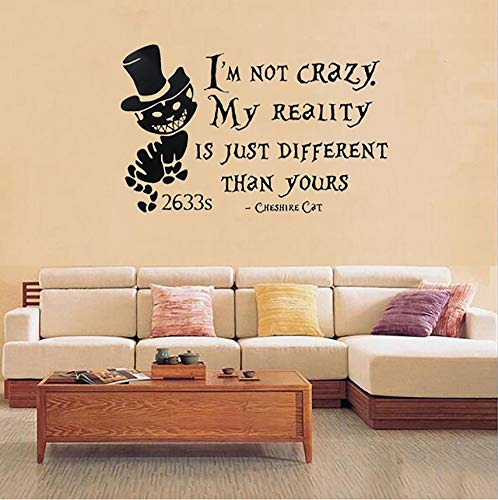 Pbldb PVC Removable Alice in Wonderland Cheshire Cat Wall Stickers Vinyl Art Wall Decals Quoting Mural Home Bedroom Decoration Black for $<!--$24.72-->