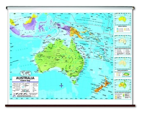 Australia Advanced Political Classroom Map on Roller w/ Brackets
