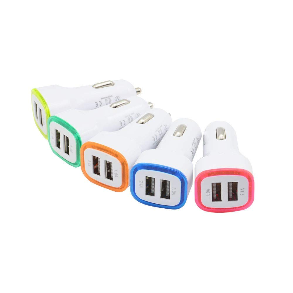 U Car Charging Accessories Dual USB Car Charger Adapter 2 USB Port Led 5V1A Smart Car Charger for iPhone OrangexGreen, None