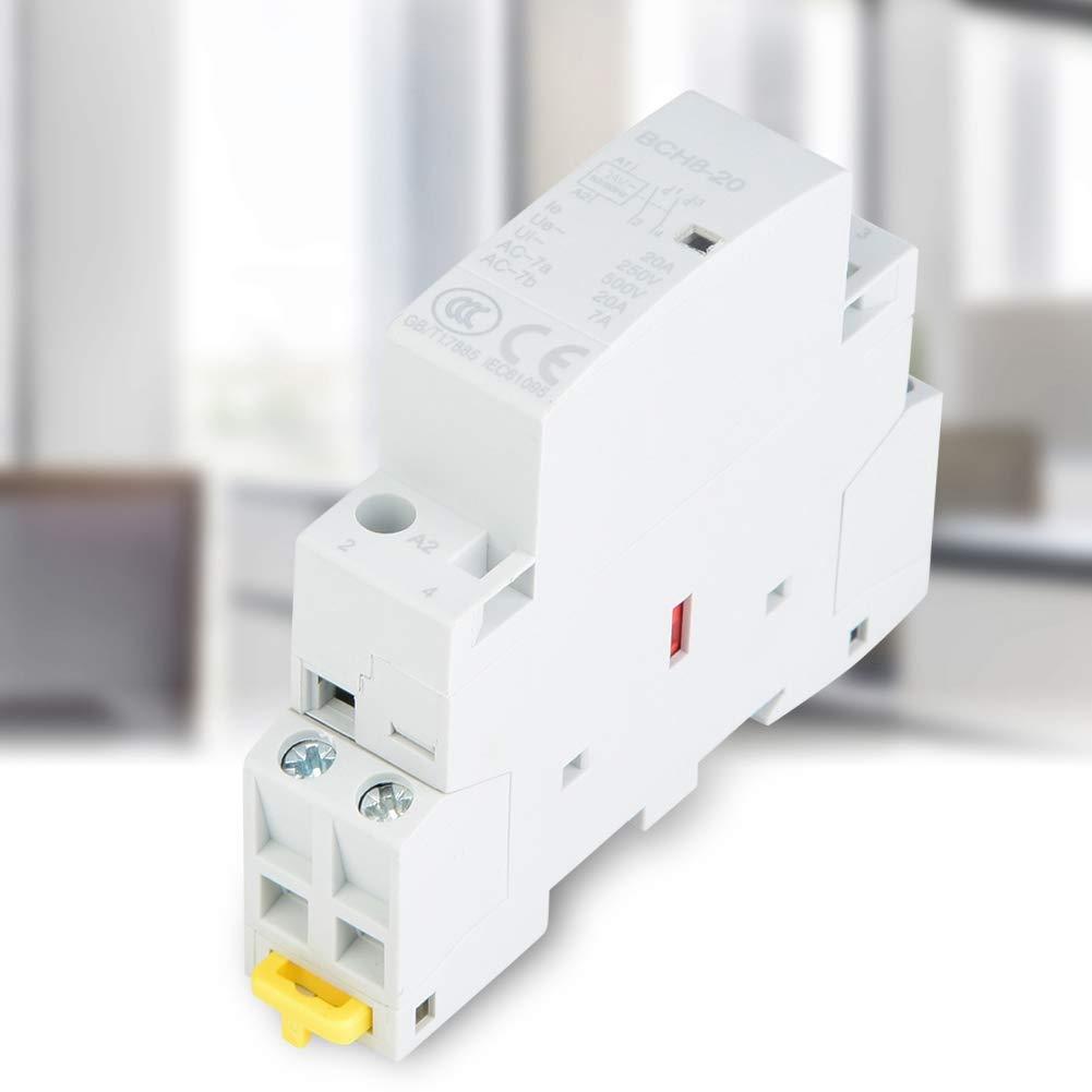 Contactor de CA doméstico, relé de montaje DIN con riel 2P 20A 24V 220V/230V 50/60Hz 1NO 1NC(220V / 230V)