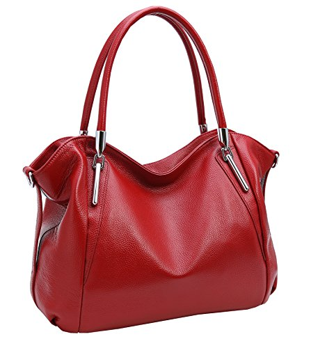 Heshe Leather Shoulder Handbags Vintage Work Tote Cross Body Bags for Womens and Ladies (Wine)