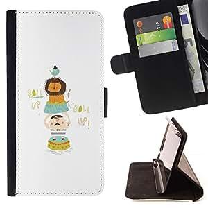For Samsung ALPHA G850 Case , Zoológico de León divertido minimalista Aves- la tarjeta de Crédito Slots PU Funda de cuero Monedero caso cubierta de piel