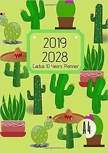 Amazon.com: 10 Years Planner 2019-2028 A4 Cactus Cacti Goals ...