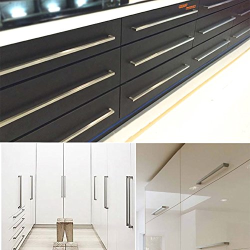 10pack goldenwarm brushed nickel square bar cabinet pull drawer handle stainless steel modern hardware for kitchen and bathroom cabinets cupboard center to