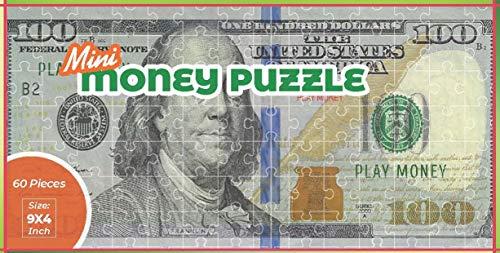 Mini Copy Play Money $100 Dollar Bill Jigsaw Puzzle. Great Gift (100 Dollar Bill Puzzle)