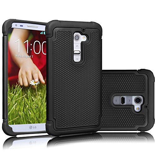 LG G2 Case, Tekcoo(TM) [Tmajor Series] [Black/Black] Shock Absorbing Hybrid Rubber Plastic Impact Defender Rugged Slim Hard Case Cover Shell Skin For LG G2 AT&T T-mobile Sprint Verizon Unlocked