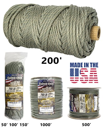 50' 550 Lb Type (TOUGH-GRID 750lb DIGI-Camo Paracord / Parachute Cord - Genuine Mil Spec Type IV 750lb Paracord Used by the US Military (MIl-C-5040-H) - 100% Nylon - Made In The USA. 50Ft. - DIGI-Camo)