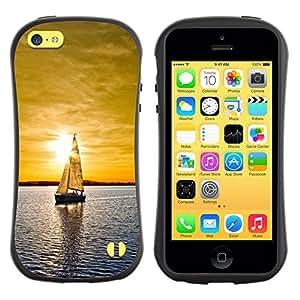 Be-Star Impreso Colorido Diseño Antichoque Caso Del iFace Primera Clase Tpu Carcasa Funda Case Cubierta Par Apple iPhone 5C ( Sunset Sailing Boat Sea )