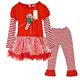 Kiddom Little Girls Clothes Set Christmas Costumes Dress Style Top&Pant