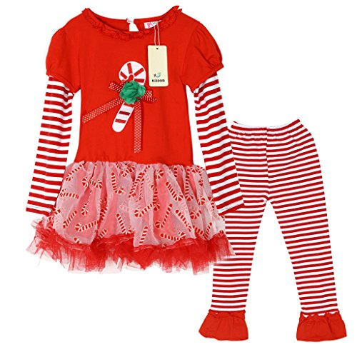 Kiddom Little Girls Clothes Set Christmas Costumes Dress Style Top & Pant, 5T(Height:120cm),Multicolor