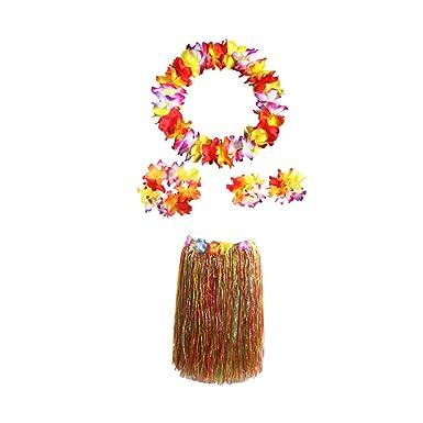 Amosfun Conjunto de Falda y Collar de Hierba Hawaiana de Doble ...