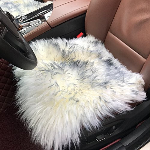 White and Black Color JINAN CARSTAUTO ACCESSORIES CO Office Kitchen Travel Car LIMITED. Non-Slip Backing Genuine Wool Home DUMI 2PCS//Set Natural Sheepskin Leather Shearling Seat Pad Cover for Auto Universal Fit