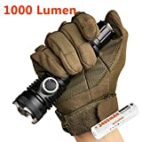 LUMINTOP TD16 1000 Lumens Cree XM-L2 U2 LED Tactical Flashlight with Holster,  18650 Rechargeable Battery, Clip, O-ring